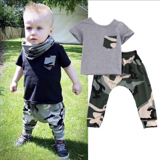 665d561c95c38 Baby Boy Army Camouflage Green Black Grey Swag Cool Cute Shirt Pants ...