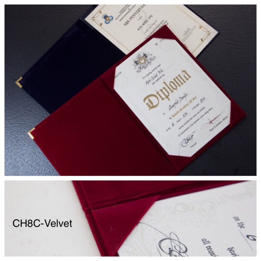 Certificate Folder Velvet Books Stationery Stationery On Carousell