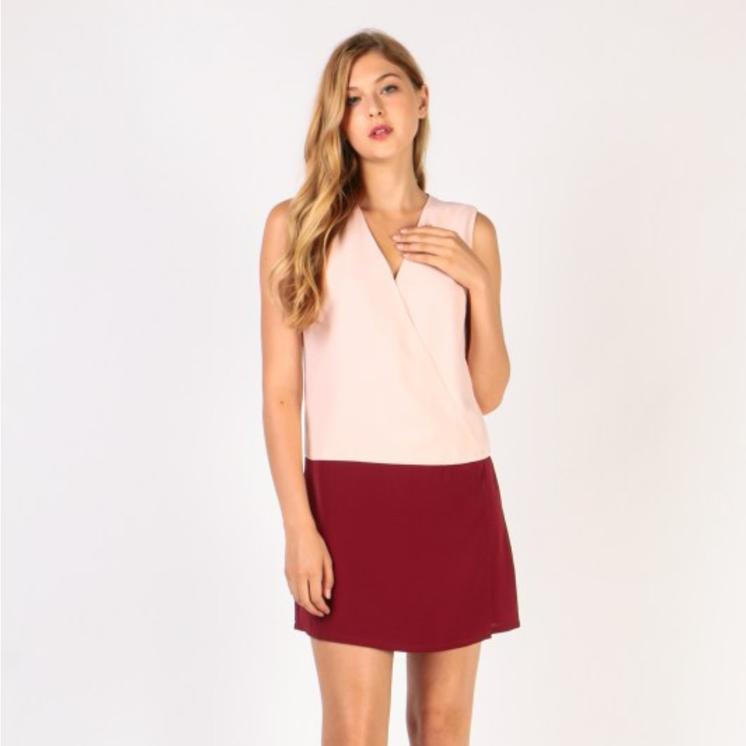 Colorblock Wrap Dress (Blush Maroon) a515d8291
