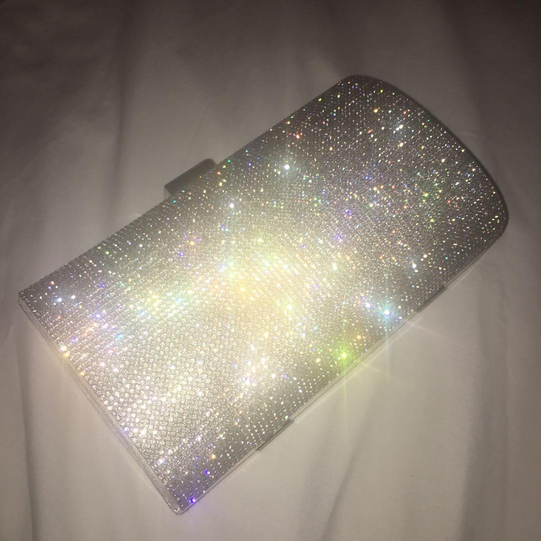 Diamond sparkly silver white clutch bag