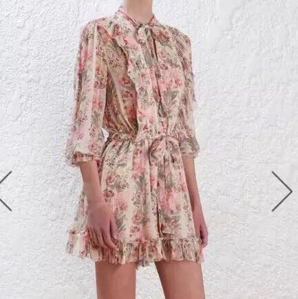 Floral Playsuit ribbon tie Zimmermann inspired