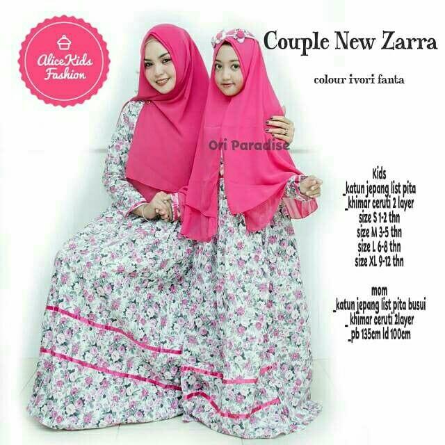 Gamis Couple Ibu Anak Dress Muslim Zarra Olshop Fashion Olshop