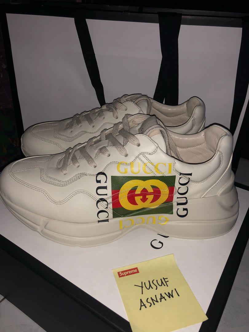 d0ff3cd77 Gucci Rhyton Logo leather sneaker, Men's Fashion, Footwear on Carousell