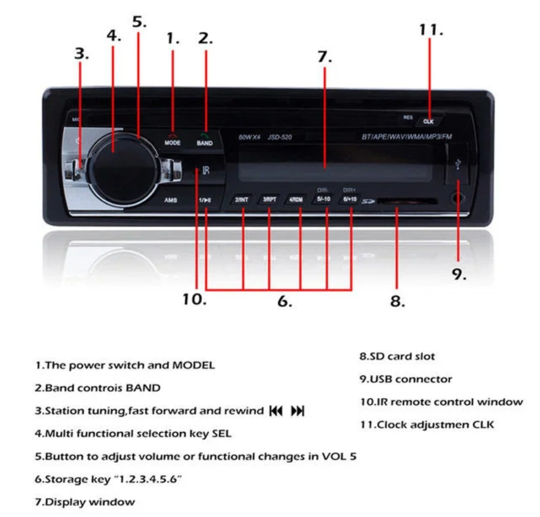 Jsd520 Autoradio Car Radio With Iso Cable 12v Bluetooth Audio Usb Mp3 Player Connection Diagram Stereo In Dash 1 Din Fm Aux Sd Accessories On Carousell