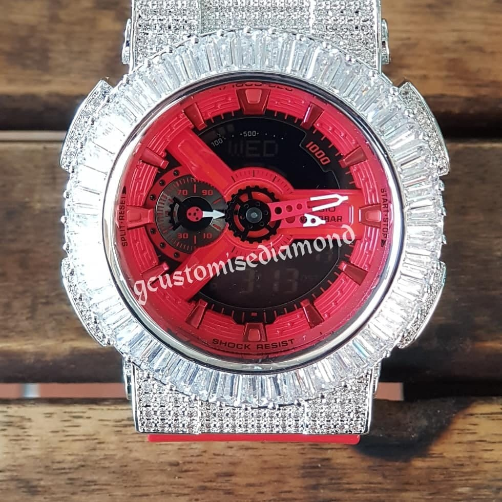 Lastest Ga Customise Gshock Full Plate Diamond Bigger More Brighter Casio Original Ga100mb 1adr 100mb Mens Fashion Watches On Carousell