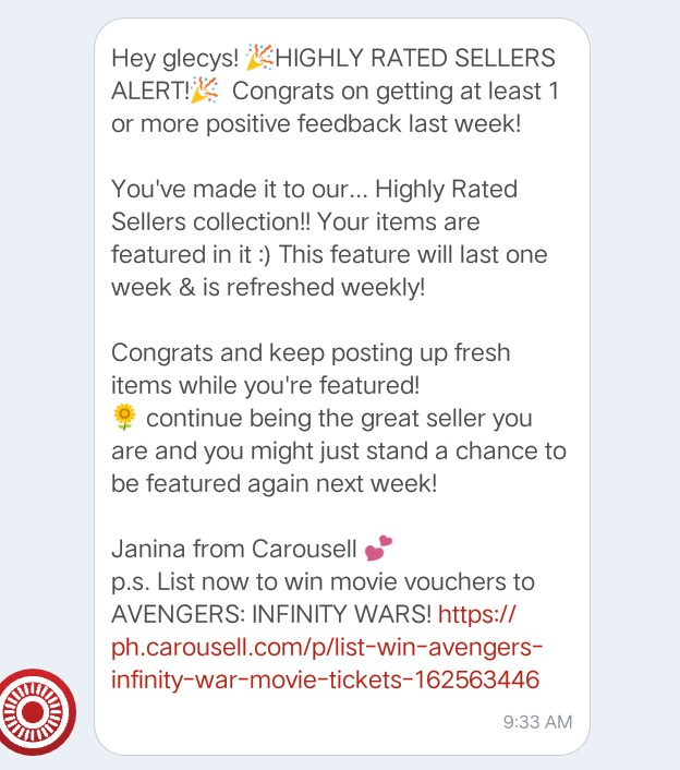 My Second Highly Rated Sellers Alert