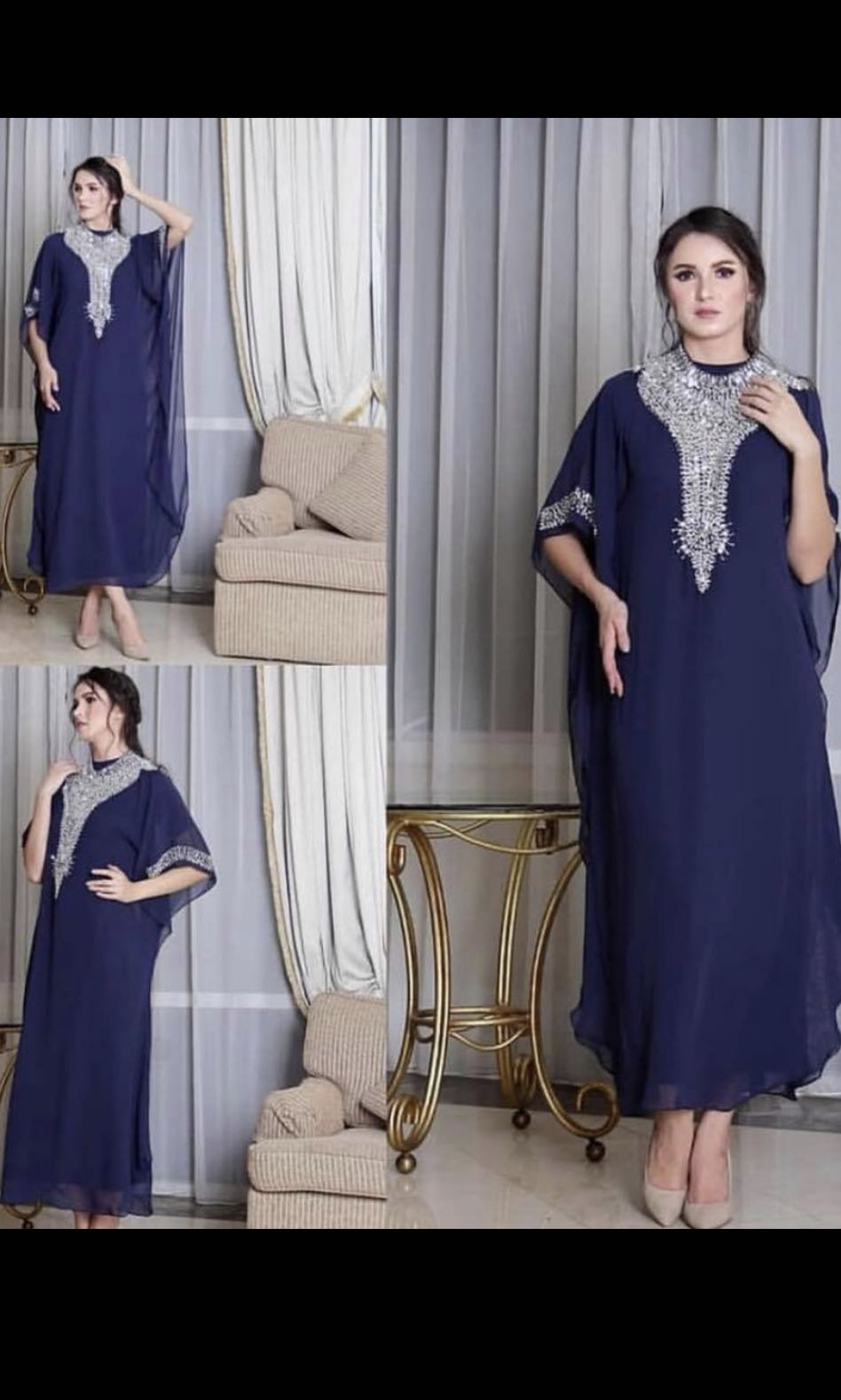 NAVY kaftan /loose maxi dress with inner full length body dress