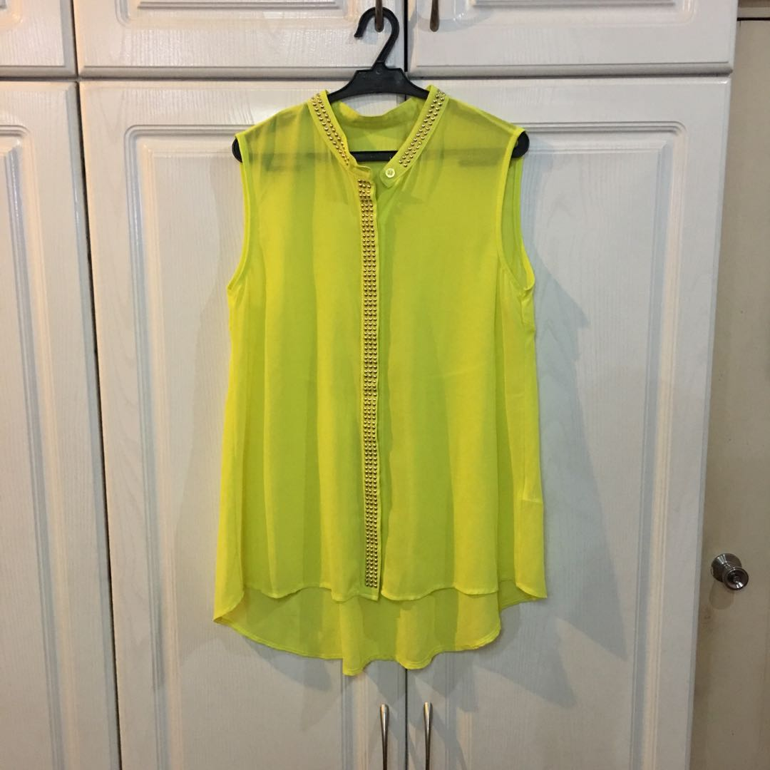 Neon Yellow Blouse with Gold Studs