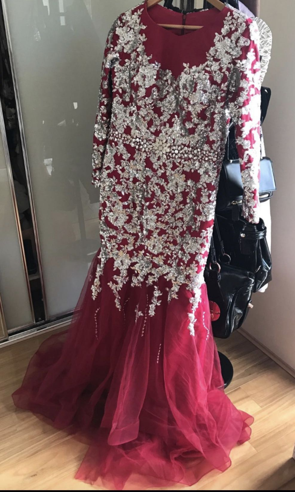 New burgundy sequin evening dress prom/ ball/ formal