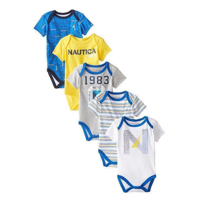 1f2c8de8d NEW Nautica Baby Boys 5 piece Bodysuit Romper Onesies