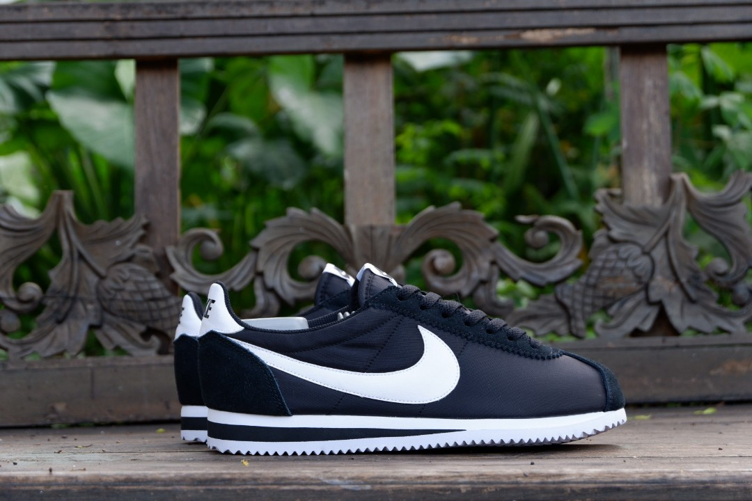 Nike Classic Cortez Nylon Black White Original Murah Preloved