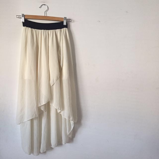 Off White Flowy High Low Skirt