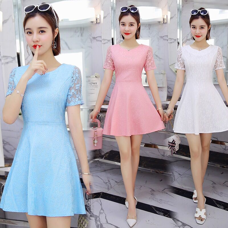 Pastel Coloured Floral Lace Prints Korean Style Skater Dress ... 680527d4b