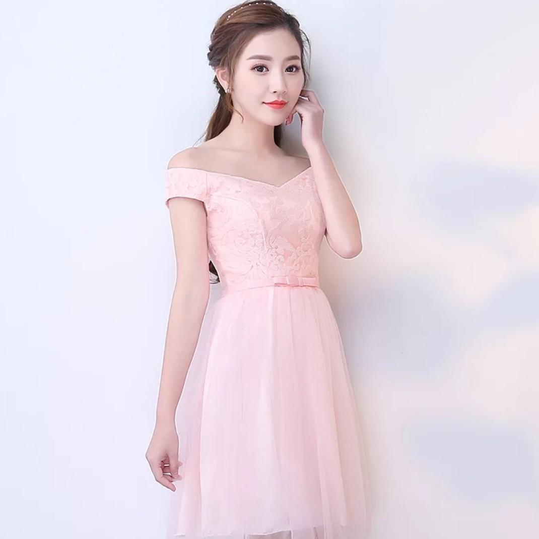 Pink Off Shoulder (Rent) Mid Sleeves Bridesmaids Dress Lace Short ...