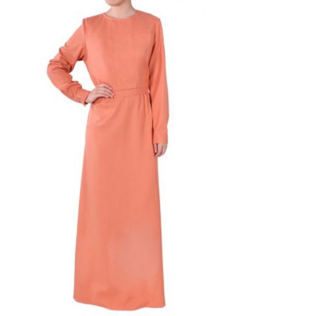 poplook kaella dress abaya jubah apricot color women s fashion