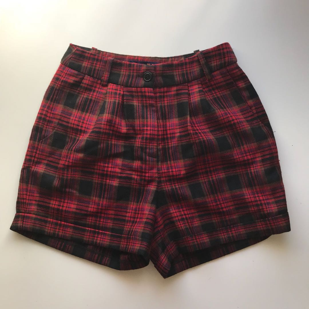 Princess Highway Red Plaid/Tartan High Waisted Shorts
