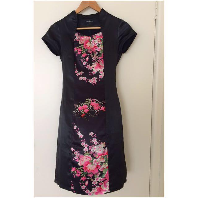 Satin Black Floral Dress