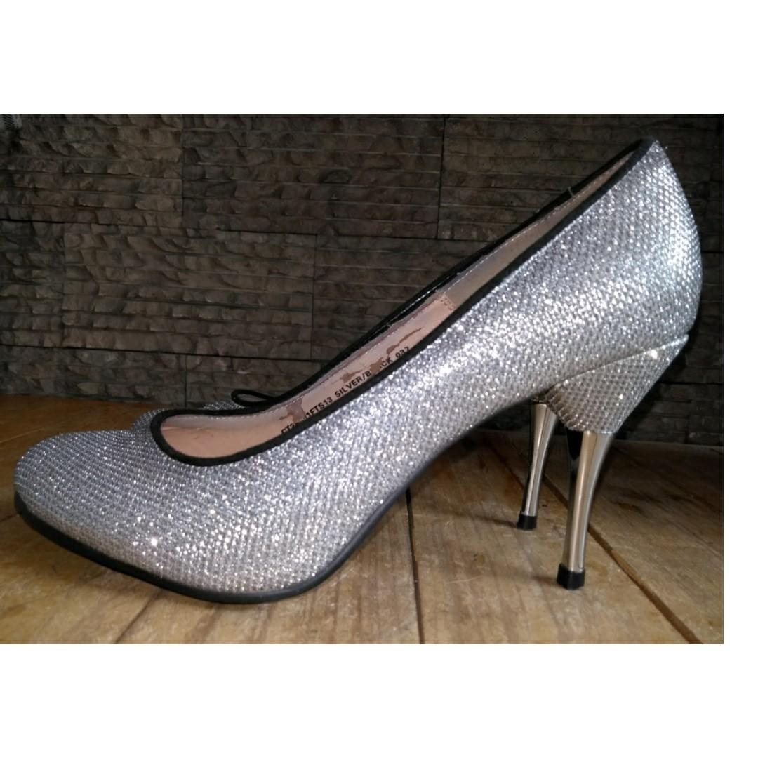 Silver Glitter Stilleto Heels