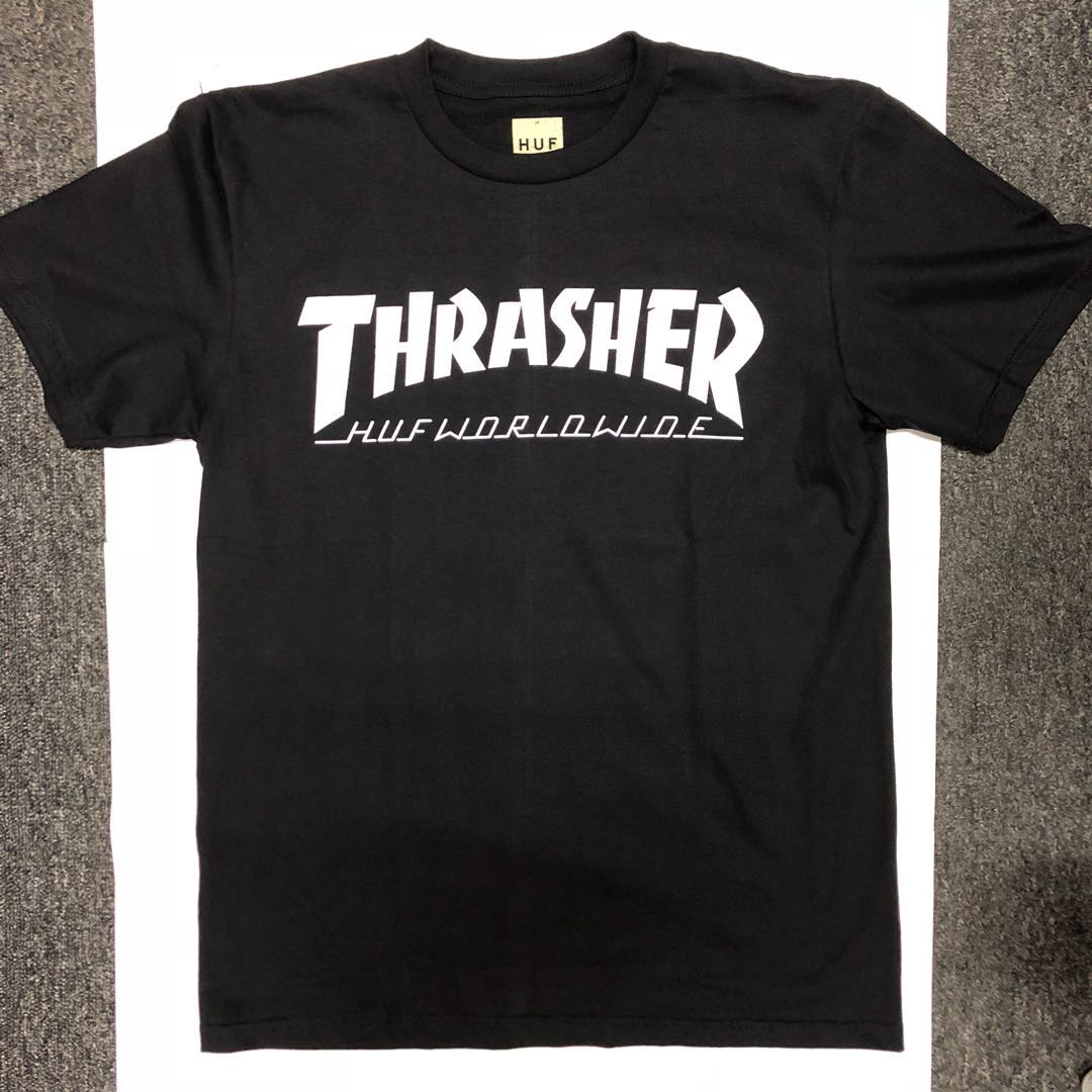 Thrasher HUF Worldwide Black T-shirt (L), Men's Fashion
