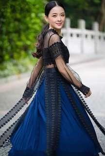 Navy Black Laces Dinner Dress