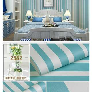 Wallpaper waterproof🌸blue color stripe