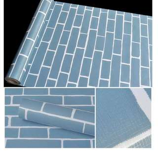 Blue brick wallpaper waterproof🌸