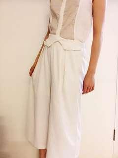 ROCOCO 白色闊腳七至八分裙褲