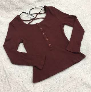 Fitted cross back top in burgundy 棗紅中袖貼身上衫