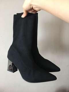 Metallic Heeled Sock Boots (Zara dupe)