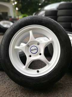 Original enkei rpo1 14 inch sports rim iriz tyre 85%. *below market price*