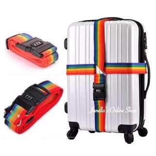 Adjustable Rainbow Luggage Strap with Combination Lock