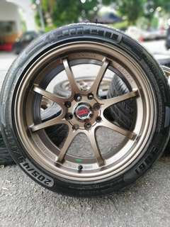 Ce28 16 inch sports rim vios tyre 70%. New rim *kuat kuat offer*