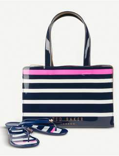 Good Deal 😍 $780  Ted Baker tote bag and flip flop setSlips onTwo top handles, stripe print, brand-logo print at front Height 26cm, width 37cm, depth 11.5cm