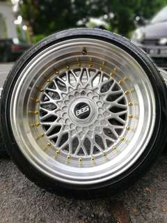 Bbs rs 17 inch sports rim perdana 10jj tyre 70%. *below market price*