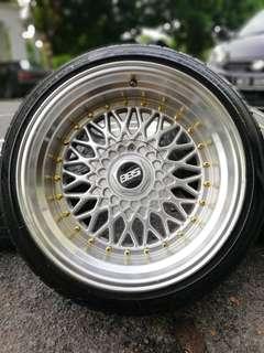 Bbs rs 17 inch sports rim perdana 10jj tyre 70%. *below market price*