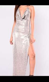 Silver Backless Party Dress