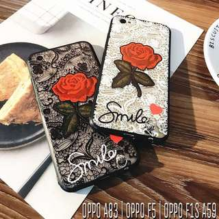 Oppo A83 F1s A59 F5 Rose Flower Back Case
