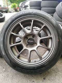 Rays ze-40 15 inch sports rim myvi tyre 80%. *below market price*