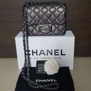 Authentic Chanel mini square (metallic grey)