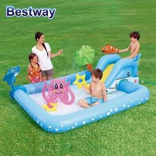 Bestway Kiddie Fun Slide Inflatable Animal Pool