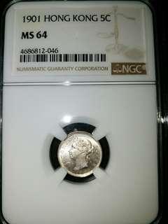 NGC MS64-1901年香港伍仙