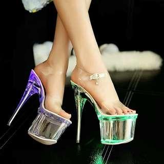 夜店必備款  💕爆款超高細跟發光恨天高女鞋💕