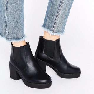 🚚 全新 ASOS 切爾西靴 鬆緊帶 厚底鞋 踝靴 Truffle Chunky Heeled Chelsea Boots