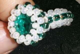 Beaded green ring