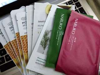 FACE MASK SHEETS (Innisfree, The Faceshop, Naruko)