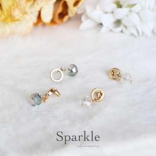 【手工製】氣質閃爍耳環(幻彩/透明)/ 原創系列/ earrings #mayflashsale