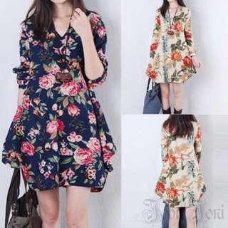 Maternity Dress Vintage Floral Long Sleeve V-Neck Loose