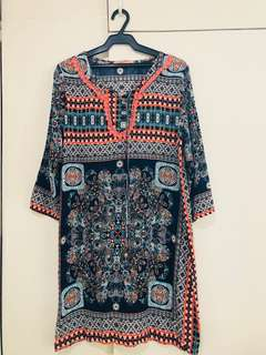 Kivenst Thai Print Flowy 3/4 Dress - Orange