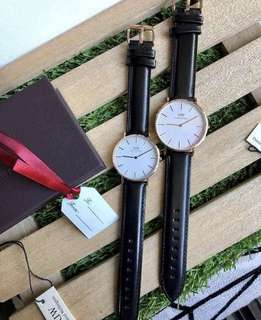 DW leather couple watch