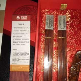 Chinese 酸枝木 chopsticks in a box (2 pairs)
